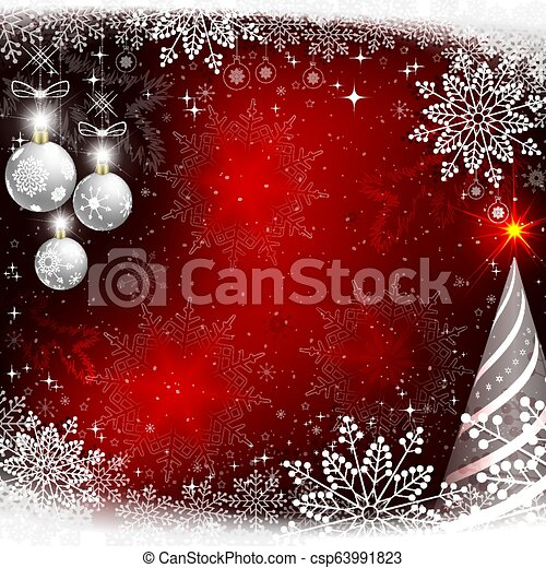Christmas red design with white balls and snowflakes. - csp63991823