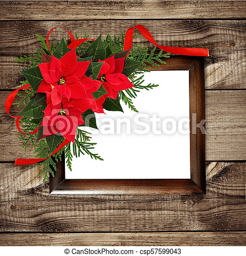 Christmas Red Poinsettia Flowers Corner Arrangement With Ribbon Bow And Frame Christmas Red Poinsettia Flowers Corner Canstock