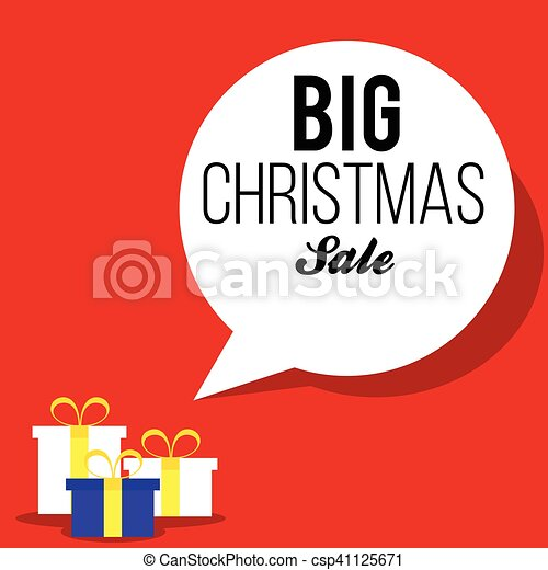 Christmas red sale banner with gift boxes - csp41125671