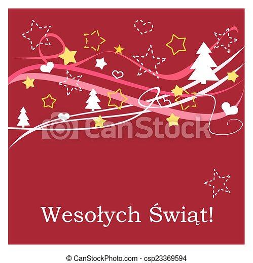 Merry Christmas In Polish.Christmas Red Vector Polish Card