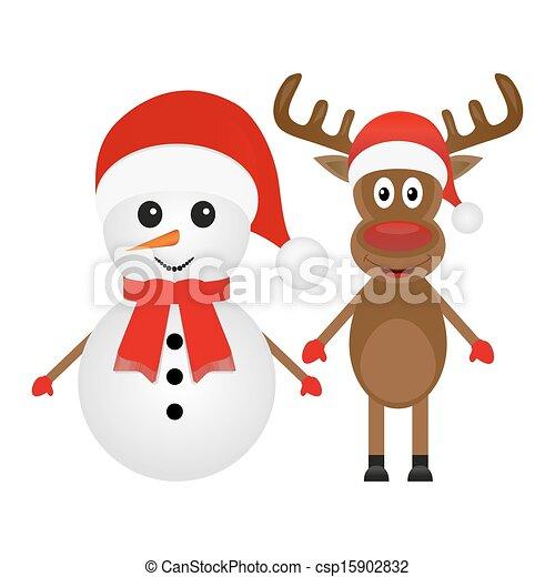 Christmas reindeer and snowman  - csp15902832