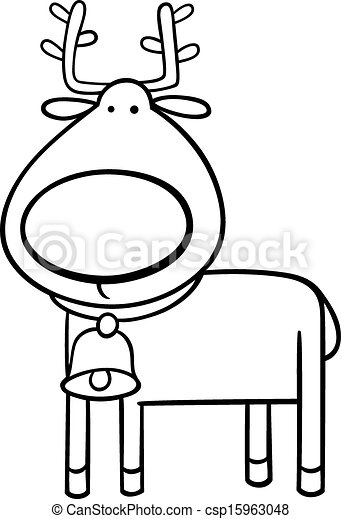 Christmas Reindeer Coloring Page Black And White Cartoon