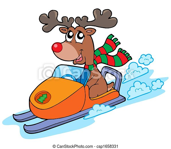 Christmas reindeer riding scooter - csp1658331