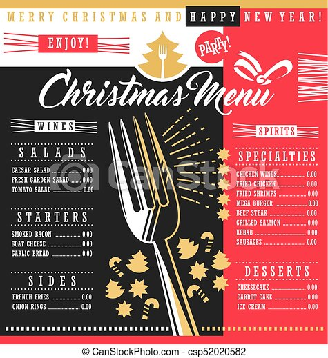 Christmas Restaurant Poster.Christmas Restaurant Menu Template With Christmas Design Elements