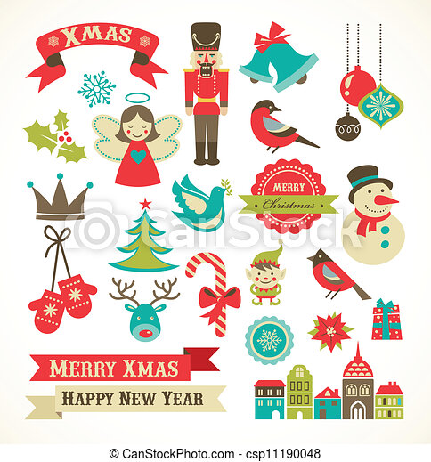 Christmas retro icons, elements and illustrations - csp11190048