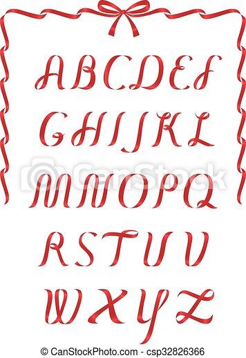 Christmas ribbon alpbahet - csp32826366