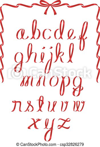 Christmas ribbon alphabet - csp32826279
