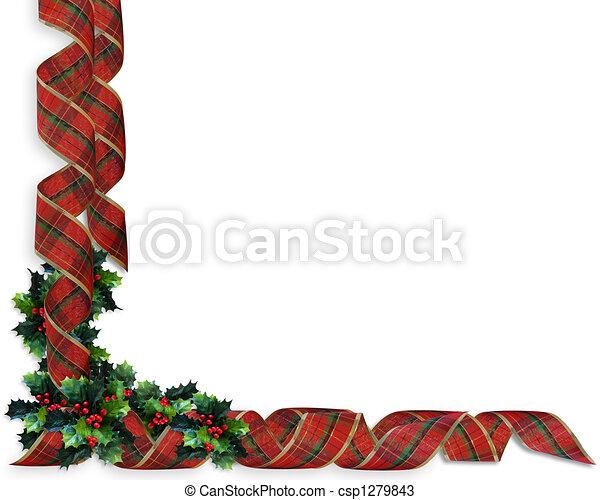 Christmas Ribbons Border Holly - csp1279843