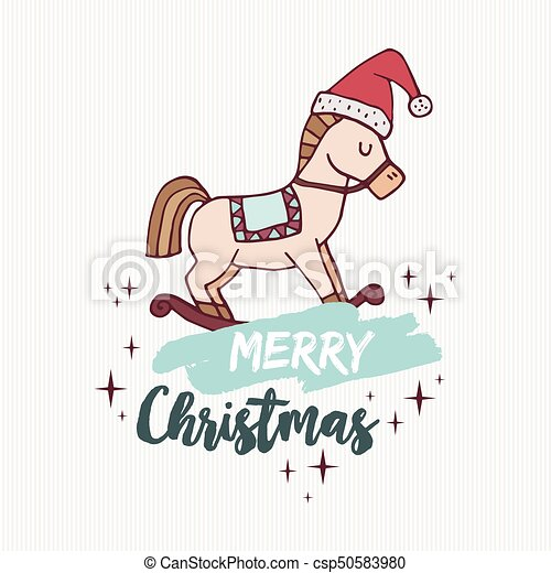Christmas Horse Drawing.Christmas Rocking Horse Toy Holiday Cartoon Card