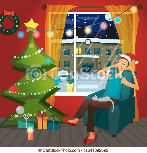 Christmas room interior. Christmas tree, gift and decoration. A man sits in a chair in a good mood and keep the cat on him lap. Flat cartoon vector illustration - csp41092692