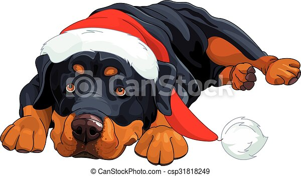 illustration of beautiful christmas rottweiler eps vector search rh canstockphoto com rottweiler clipart rottweiler clipart free