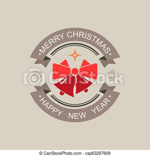 Christmas round sign of a red hue with a silhouette of two bells. - csp63297609