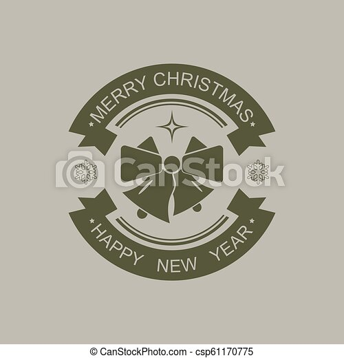 Christmas round sign of black color with silhouette of two bells. - csp61170775