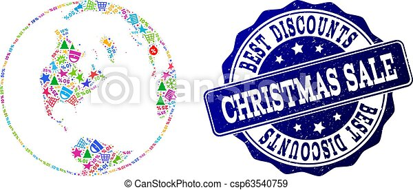 Christmas Sale Collage of Mosaic Global Map of World and Grunge Stamp - csp63540759