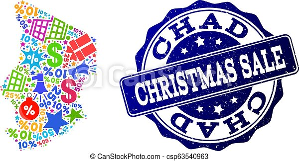 Christmas Sale Collage of Mosaic Map of Chad and Distress Stamp - csp63540963