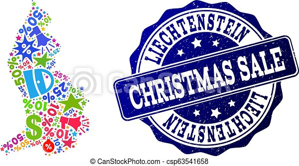 Christmas Sale Collage of Mosaic Map of Liechtenstein and Scratched Stamp - csp63541658