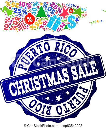 Christmas Sale Collage of Mosaic Map of Puerto Rico and Grunge Seal - csp63542093