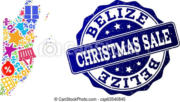 Christmas Sale Collage of Mosaic Map of Belize and Grunge Seal - csp63540845