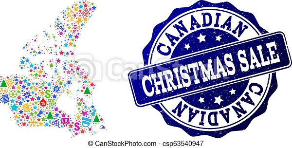 Christmas Sale Collage of Mosaic Map of Canada and Scratched Seal - csp63540947