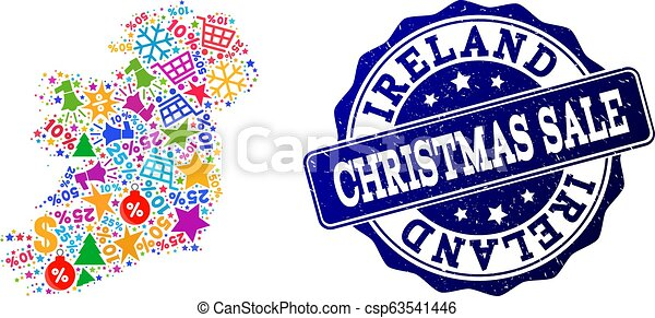 Christmas Sale Collage of Mosaic Map of Ireland Island and Grunge Seal - csp63541446