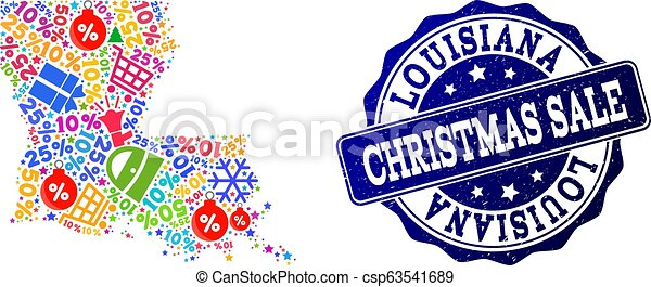 Christmas Sale Collage of Mosaic Map of Louisiana State and Textured Stamp - csp63541689