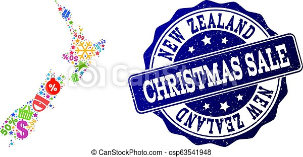 Christmas Sale Collage of Mosaic Map of New Zealand and Grunge Seal - csp63541948