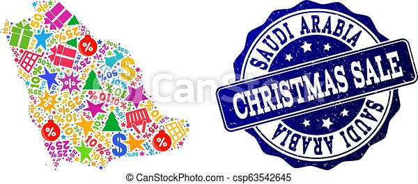 Christmas Sale Collage of Mosaic Map of Saudi Arabia and Textured Stamp - csp63542645