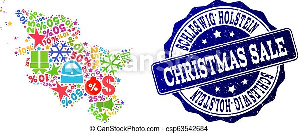 Christmas Sale Collage of Mosaic Map of Schleswig-Holstein State and Scratched Seal - csp63542684