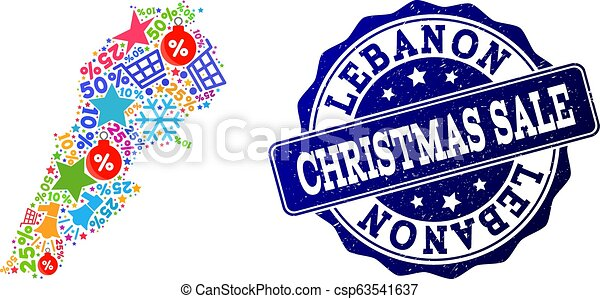 Christmas Sale Collage of Mosaic Map of Lebanon and Grunge Seal - csp63541637