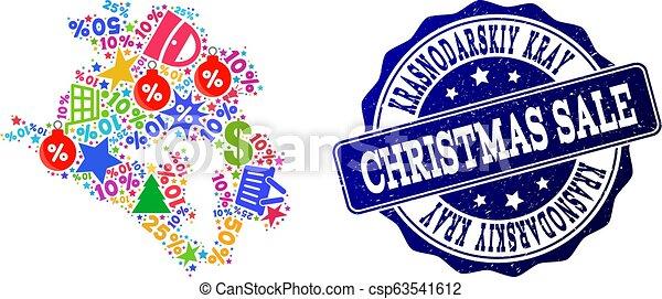 Christmas Sale Collage of Mosaic Map of Krasnodarskiy Kray and Textured Stamp - csp63541612