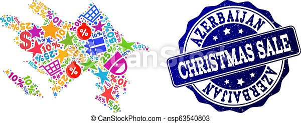 Christmas Sale Collage of Mosaic Map of Azerbaijan and Distress Stamp - csp63540803