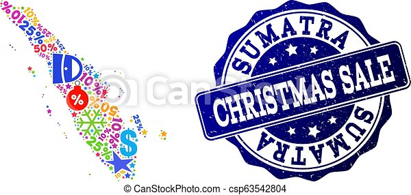 Christmas Sale Collage of Mosaic Map of Sumatra Island and Grunge Seal - csp63542804