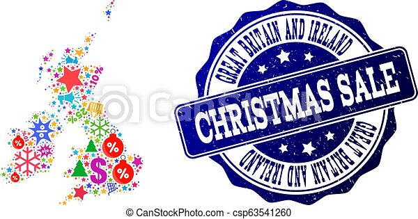 Christmas Sale Composition of Mosaic Map of Great Britain and Ireland and Scratched Stamp - csp63541260