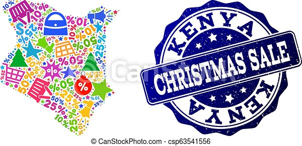 Christmas Sale Composition of Mosaic Map of Kenya and Grunge Stamp - csp63541556