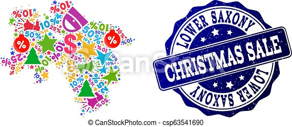 Christmas Sale Composition of Mosaic Map of Lower Saxony State and Grunge Seal - csp63541690