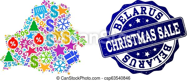 Christmas Sale Composition of Mosaic Map of Belarus and Distress Stamp - csp63540846