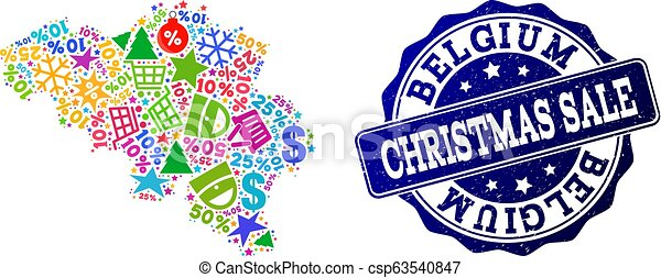 Christmas Sale Composition of Mosaic Map of Belgium and Grunge Seal - csp63540847
