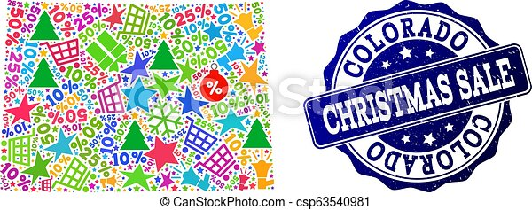 Christmas Sale Composition of Mosaic Map of Colorado State and Textured Stamp - csp63540981