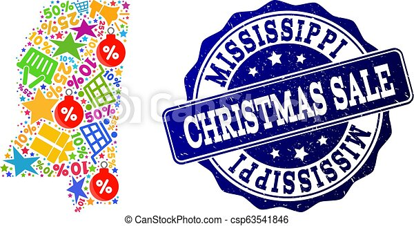 Christmas Sale Composition of Mosaic Map of Mississippi State and Distress Stamp - csp63541846