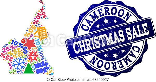 Christmas Sale Composition of Mosaic Map of Cameroon and Textured Stamp - csp63540927