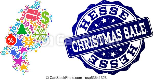 Christmas Sale Composition of Mosaic Map of Hesse State and Textured Seal - csp63541328