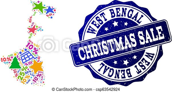 Christmas Sale Composition of Mosaic Map of West Bengal State and Textured Stamp - csp63542924