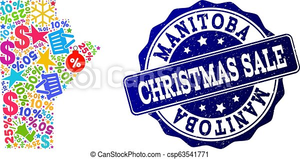 Christmas Sale Composition of Mosaic Map of Manitoba Province and Grunge Stamp - csp63541771