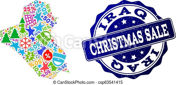 Christmas Sale Composition of Mosaic Map of Iraq and Distress Stamp - csp63541415