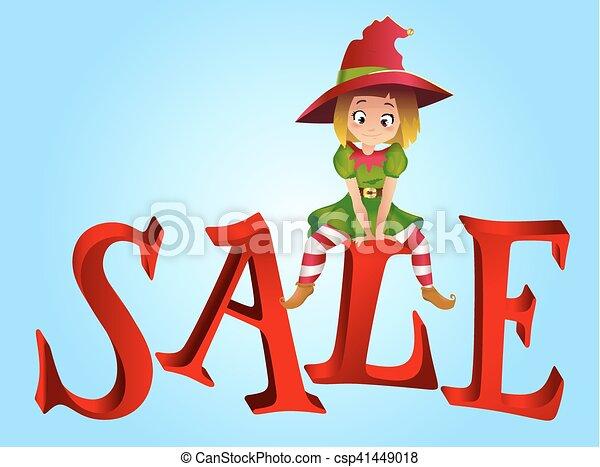 Christmas Sale Design Template Santa Claus Elf Helper Sitting On
