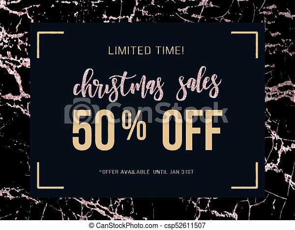 Christmas Sale Poster On Rose Gold Marble Background Vector Illustration For Website And Banners