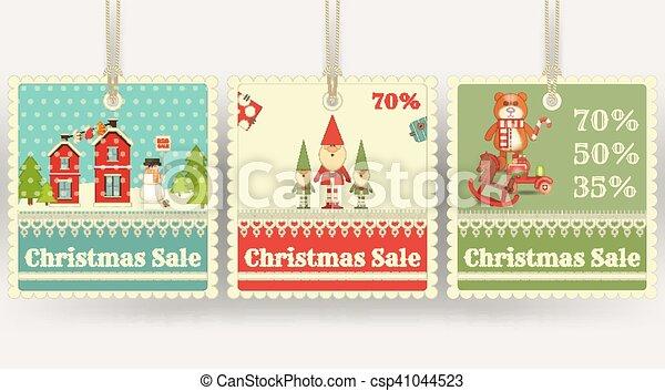 Christmas Sale Price Tags Christmas Sale Tags With Xmas Symbols