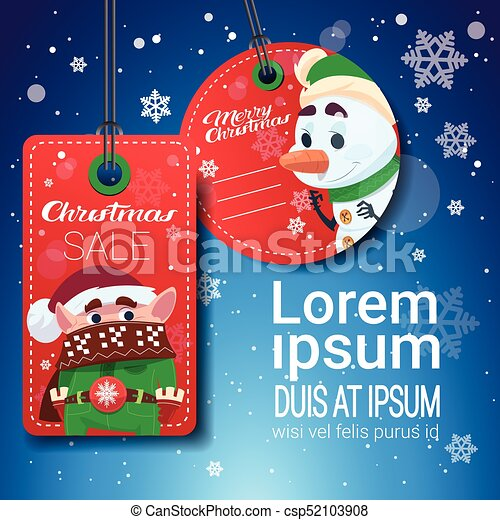 Christmas Sale Tags On Blue Snowflakes Background With Copy Space - csp52103908
