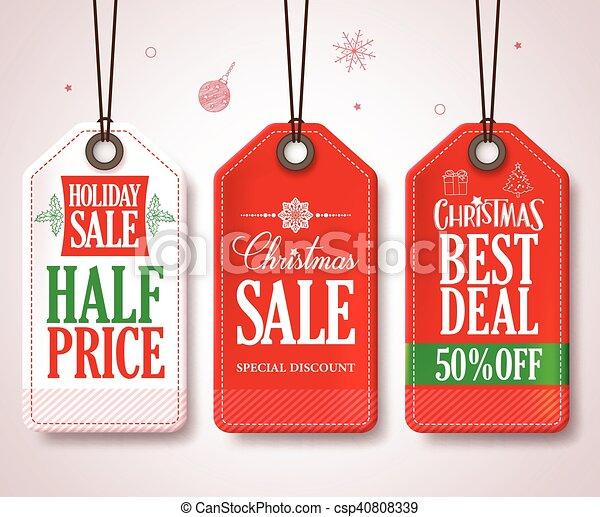Christmas Sale Tags Set Christmas - csp40808339