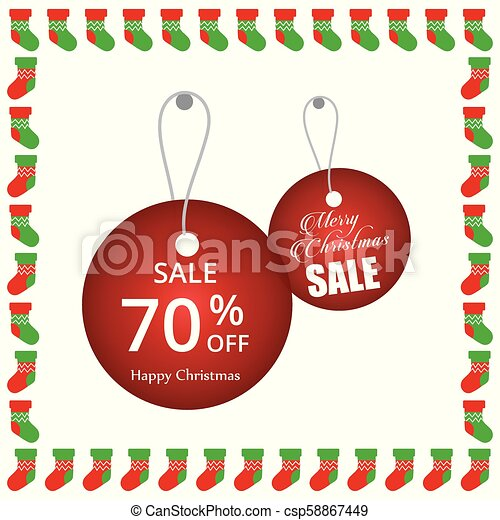 Christmas sale tags with frame - csp58867449